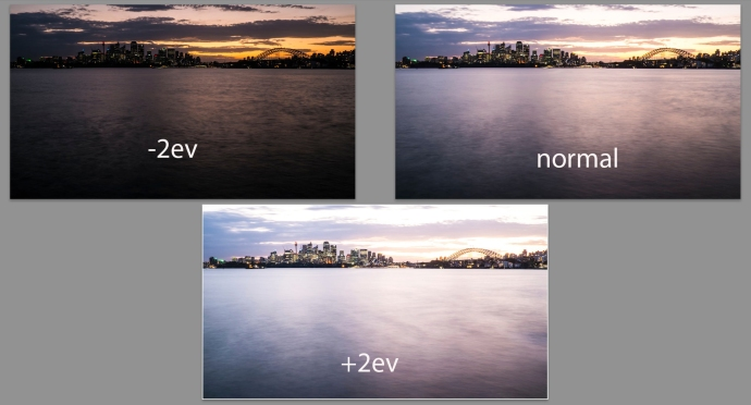 The 3 exposures in RAW
